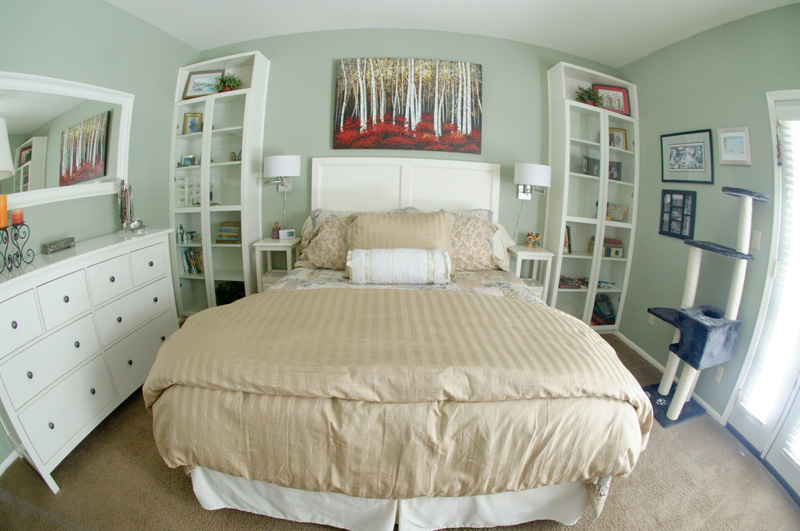 townhouse master bedroom update pretty soft green walls with white furniture soft tan color bedding