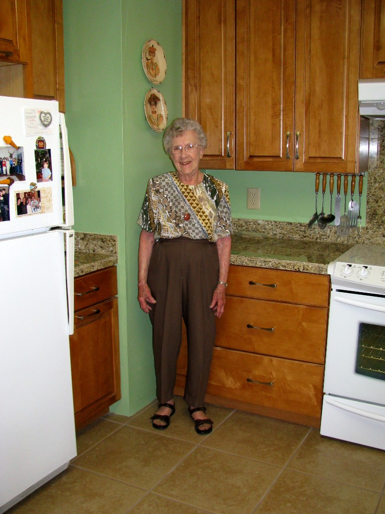 Ms. Helen LOVES her new kitchen